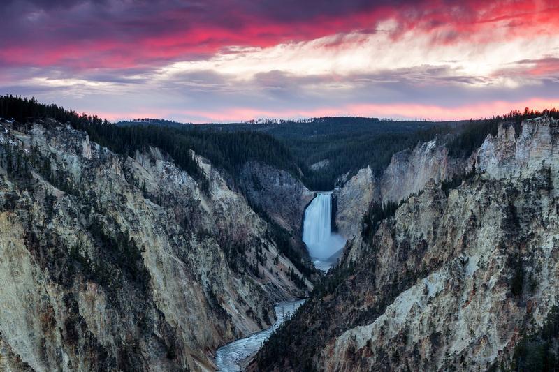 Sunset at Yellowstone Falls